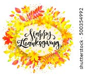 happy thanksgiving day.... | Shutterstock .eps vector #500354992