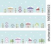 winter suburban houses   vector ... | Shutterstock .eps vector #500358022