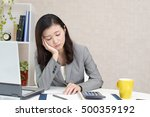 tired and stressed asian... | Shutterstock . vector #500359192