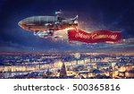 fantastic airship over the city ... | Shutterstock . vector #500365816