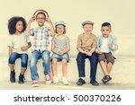 casual children cheerful cute... | Shutterstock . vector #500370226
