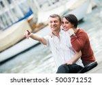 happy mature couple hugging... | Shutterstock . vector #500371252