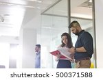 businessman and businesswoman... | Shutterstock . vector #500371588