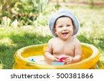 beautiful baby girl in cotton... | Shutterstock . vector #500381866
