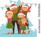 happy christmas family  vector... | Shutterstock .eps vector #500405806