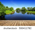 lake and green summer trees.... | Shutterstock . vector #500411782