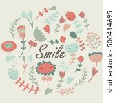 'smile' poster with cute... | Shutterstock .eps vector #500414695