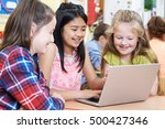 group of elementary school... | Shutterstock . vector #500427346