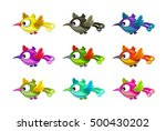 little cartoon flying birds set ...