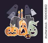 set of halloween objects.... | Shutterstock .eps vector #500430802
