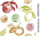 seamless pattern with citrus... | Shutterstock .eps vector #500437006