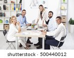 group of business people having ... | Shutterstock . vector #500440012
