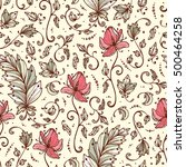 vintage vector floral seamless... | Shutterstock .eps vector #500464258