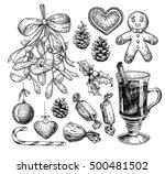 christmas object set. hand... | Shutterstock .eps vector #500481502