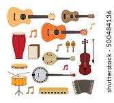 music instruments acoustic... | Shutterstock .eps vector #500484136