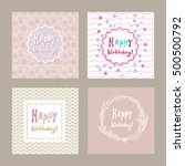 happy birthday hand drawn card... | Shutterstock .eps vector #500500792
