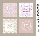 happy birthday hand drawn card... | Shutterstock .eps vector #500500792