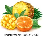 pineapple mango orange fruits...   Shutterstock .eps vector #500512732