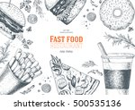 fast food top view frame. fast... | Shutterstock .eps vector #500535136