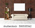 modern bright interior . 3d... | Shutterstock . vector #500535562