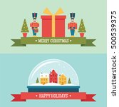 christmas snow globe and gift... | Shutterstock .eps vector #500539375