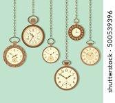 vintage pocket watch hanging... | Shutterstock .eps vector #500539396