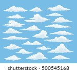 Cartoon Cloud Vector Set. Blue...