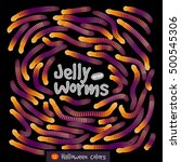 candy gummy jelly worms ... | Shutterstock .eps vector #500545306