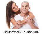 happy elderly father and his... | Shutterstock . vector #500563882
