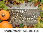 give thanks holiday card | Shutterstock . vector #500583118