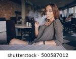 beautiful brunette smoke... | Shutterstock . vector #500587012