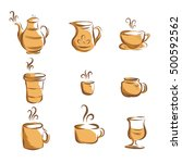 coffee icon handrawn style ... | Shutterstock .eps vector #500592562