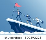 business people climb to the... | Shutterstock .eps vector #500593225