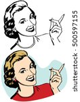 blonde woman pointing | Shutterstock .eps vector #500597155
