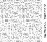 seamless pattern hand drawn... | Shutterstock .eps vector #500624572
