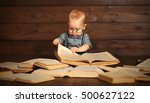 funny baby with books in... | Shutterstock . vector #500627122