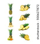 set of pineapple fruits with... | Shutterstock . vector #500627872