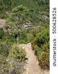 Small photo of Slender hiking track along the scarp of the Purcaraccia Canyon; Bavella Massif, Alta Rocca, Corsica, France. 2014