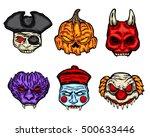 scary halloween mask set 2 | Shutterstock .eps vector #500633446