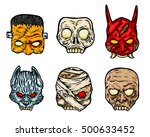 scary halloween mask set 1  | Shutterstock .eps vector #500633452