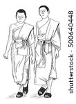 sketch of young buddhist monks... | Shutterstock . vector #500640448