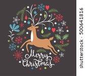 christmas card  christmas deer  ... | Shutterstock . vector #500641816