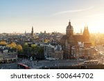 Stock photo amsterdam skyline in historical area at night amsterdam netherlands aerial view of amsterdam 500644702