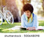 young woman using tablet in the ... | Shutterstock . vector #500648098