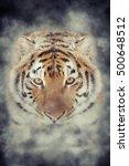close up tiger in smoke on dark ... | Shutterstock . vector #500648512