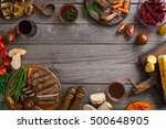 frame of different food cooked... | Shutterstock . vector #500648905