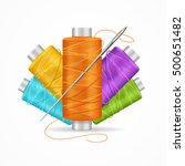 thread spool set. colorful... | Shutterstock .eps vector #500651482