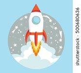 start up concept the rocket... | Shutterstock .eps vector #500680636