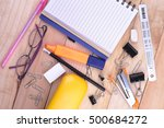 open notebook  free space for... | Shutterstock . vector #500684272
