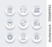 Farm  Ranch Line Icons Set  He...